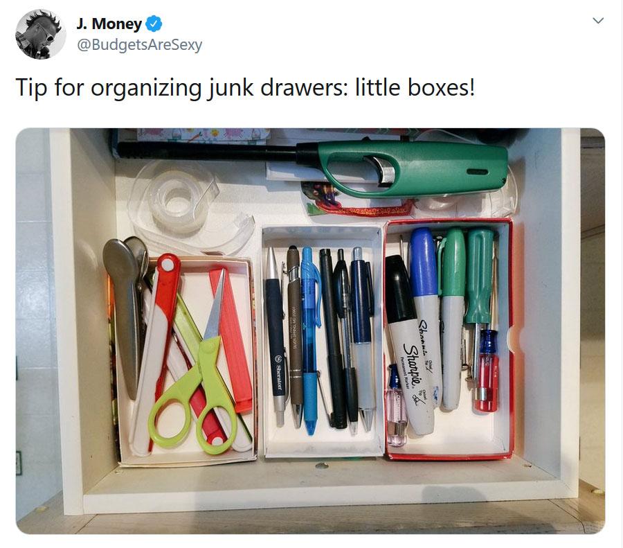 junk drawer organization tip