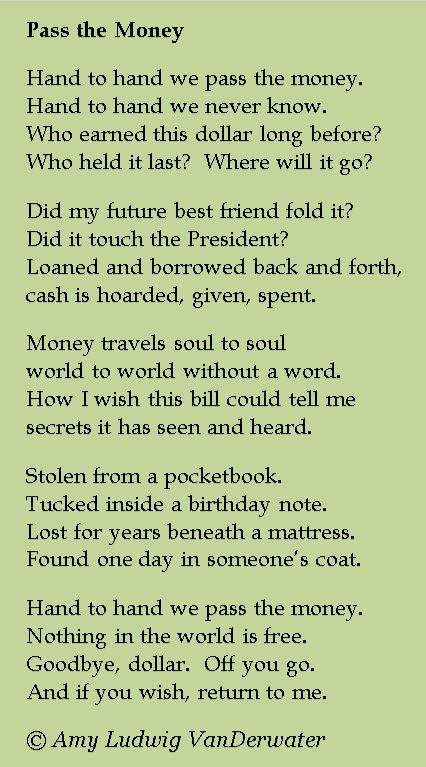 pass the money poem